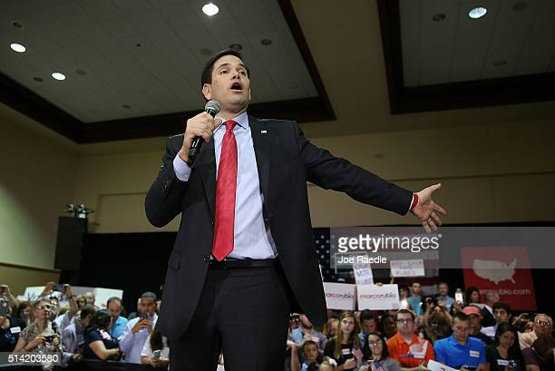 Republican presidential candidate US Sen Marco Rubio speaks during a campaign rally at theTampa Convention Center on March 7 2016 in Tampa Florida...