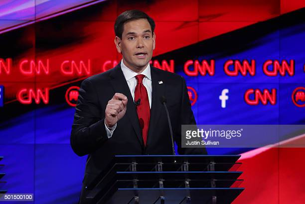 Republican presidential candidate US Sen Marco Rubio speaks during the CNN Republican presidential debate on December 15 2015 in Las Vegas Nevada...