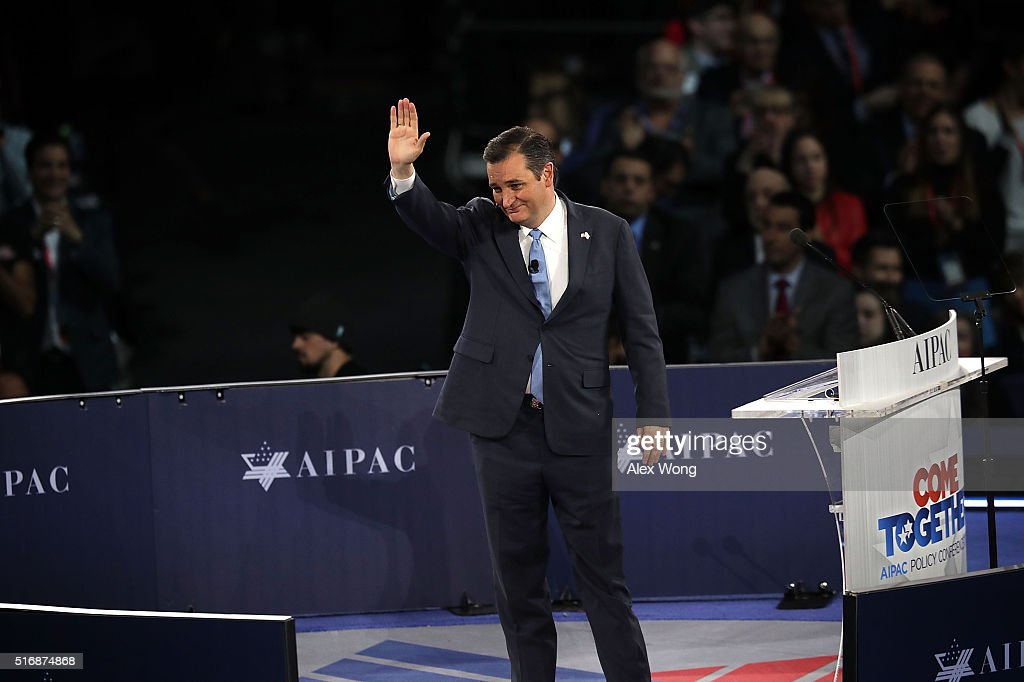 Republican presidential candidate, U.S. Sen. Ted Cruz (R-TX) acknowledges the crowd after his address to the annual policy conference of the American Israel Public Affairs Committee (AIPAC) March 21, 2016 in Washington, DC. Presidential candidates from both parties gathered in Washington to explain their views on Israel.