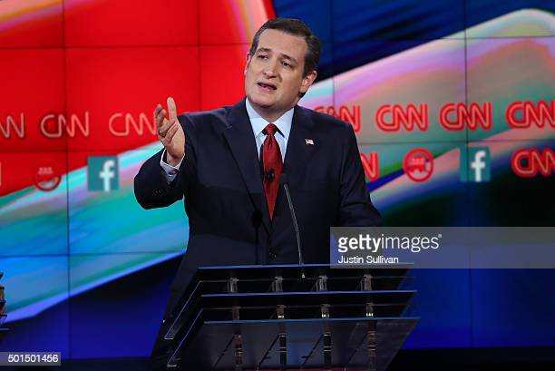Republican presidential candidate US Sen Ted Cruz speaks during the CNN Republican presidential debate on December 15 2015 in Las Vegas Nevada This...