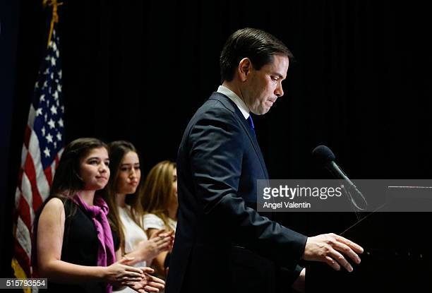 Republican presidential candidate US Senator Marco Rubio flanked by his family speaks at a primary night rally on March 15 2016 in Miami Florida...