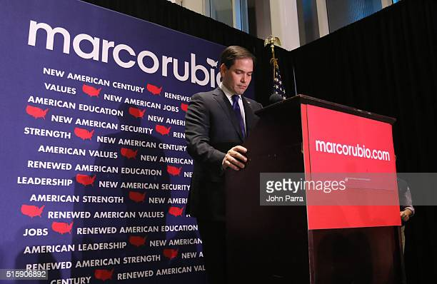 Republican presidential candidate US Senator Marco Rubio speaks to supporters at a primary night rally on March 15 2016 in Miami Florida Rubio...