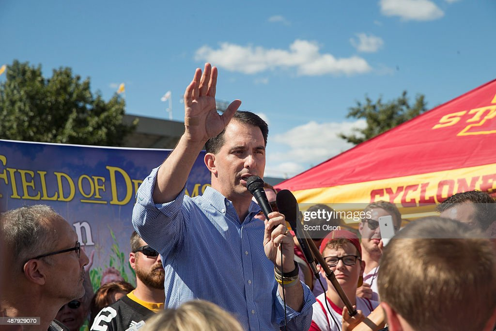 Republican presidential candidate, Wisconsin Gov. <a gi-track='captionPersonalityLinkClicked' href=/galleries/search?phrase=Scott+Walker+-+Politician&family=editorial&specificpeople=7511934 ng-click='$event.stopPropagation()'>Scott Walker</a> speaks to fans tailgating outside Jack Trice Stadium before the start of the Iowa State University versus University of Iowa football game on September 12, 2015 in Ames, Iowa. Several GOP candidates campaigned at the event.