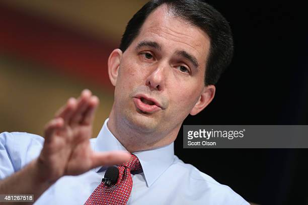 Republican presidential candidate Wisconsin Governor Scott Walker fields questions at The Family Leadership Summit at Stephens Auditorium on July 18...