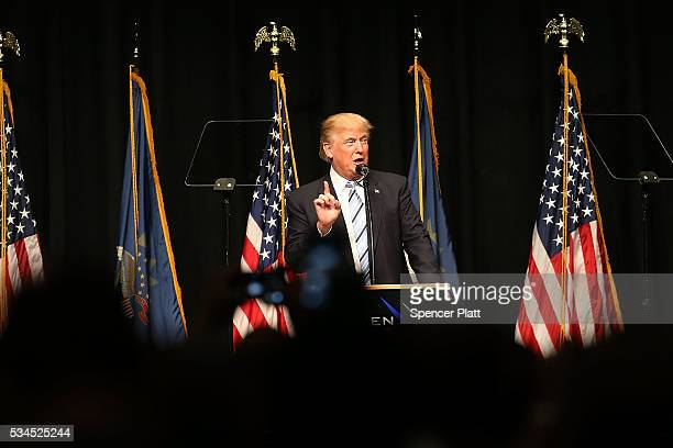 Republican presidential candidateDonald Trump speaks at a rally on May 26 2016 in Bismarck North Dakota According to a delegate count released...