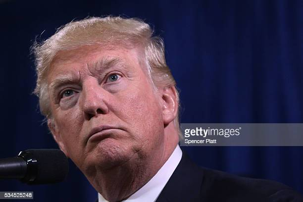 Republican presidential candidateDonald Trump speaks to the media before a rally on May 26 2016 in Bismarck North Dakota According to a delegate...