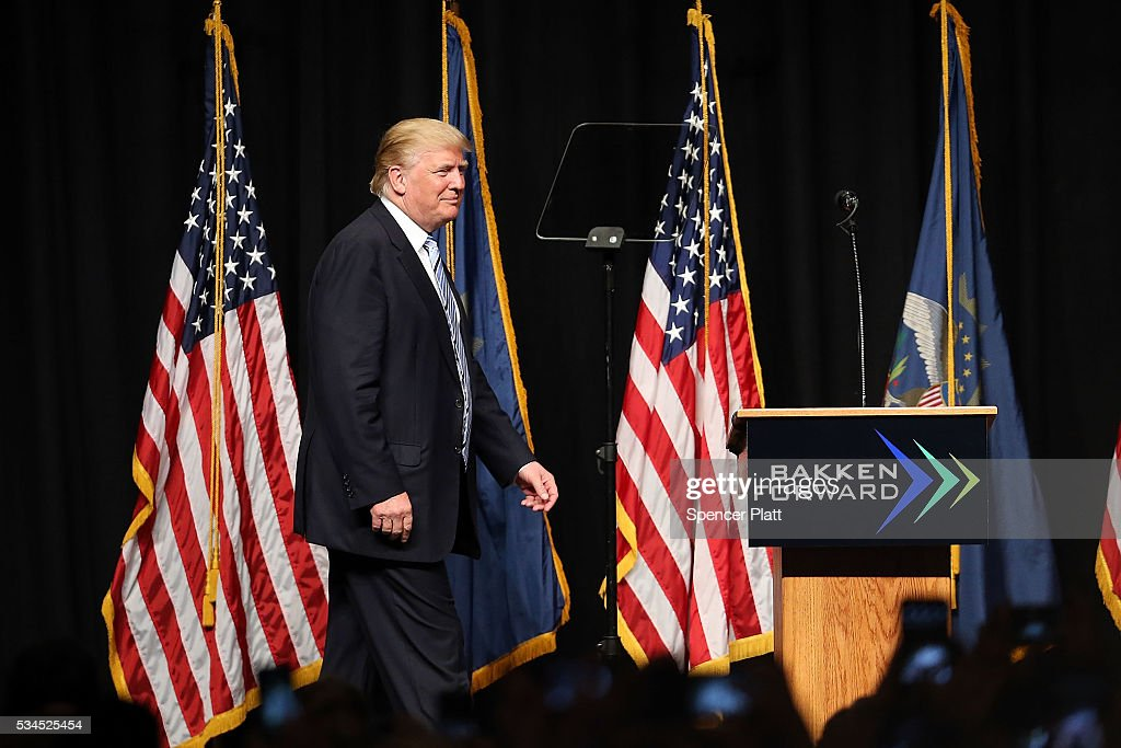 Republican presidential candidateDonald Trump walks onto stage at a rally on May 26, 2016 in Bismarck, North Dakota. According to a delegate count released Thursday, Trump has reached the number of delegates needed to win the GOP presidential nomination.