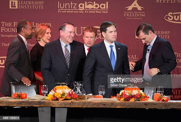 Republican presidential candidates Ben Carson Carly Fiorina Mike Huckabee Sen Rand Paul Sen Marco Rubio and Ted Cruz chat following the Presidential...