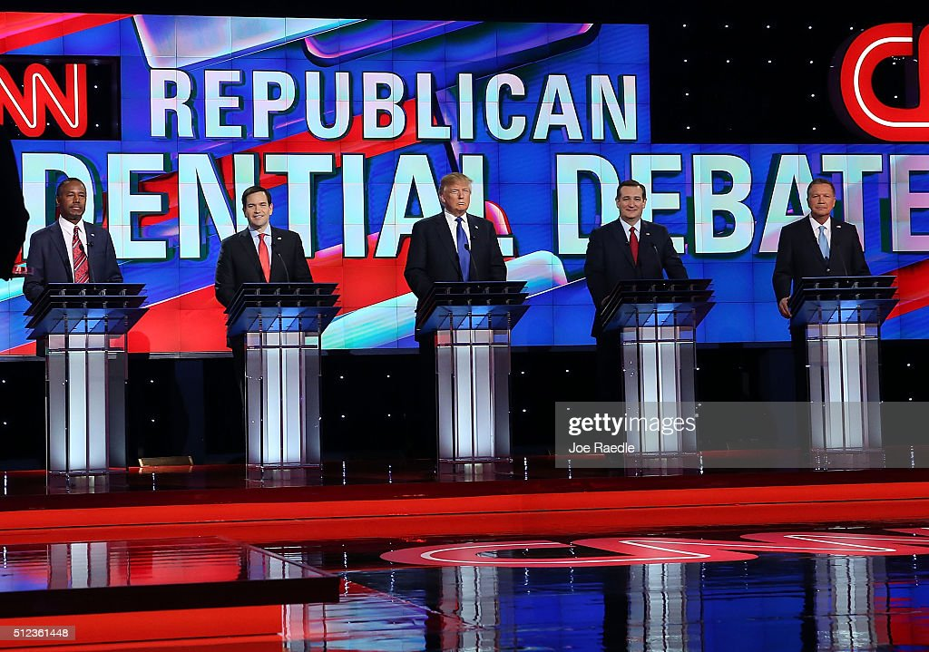 Republican presidential candidates Ben Carson, Florida Sen. Marco Rubio (R-FL), Donald Trump, Texas Sen. Ted Cruz (R-TX) and Ohio Gov. John Kasich (L-R) stand on stage for the Republican National Committee Presidential Primary Debate at the University of Houston's Moores School of Music Opera House on February 25, 2016 in Houston, Texas. The candidates are meeting for the last Republican debate before the Super Tuesday primaries on March 1.