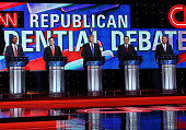 Republican presidential candidates Ben Carson Florida Sen Marco Rubio Donald Trump Texas Sen Ted Cruz and Ohio Gov John Kasich stand on stage for the...