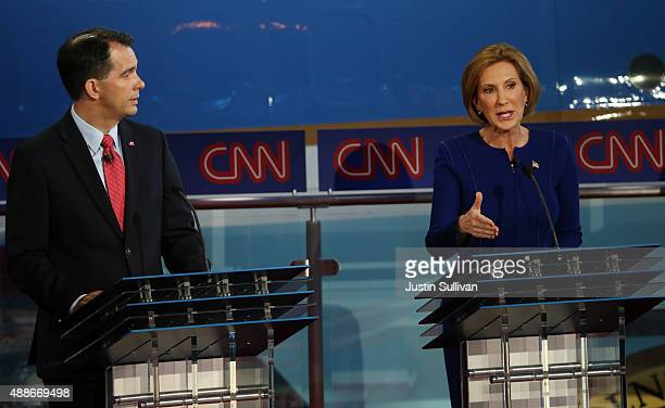 Republican presidential candidates Carly Fiorina and Wisconsin Gov Scott Walker take part in the presidential debates at the Reagan Library on...