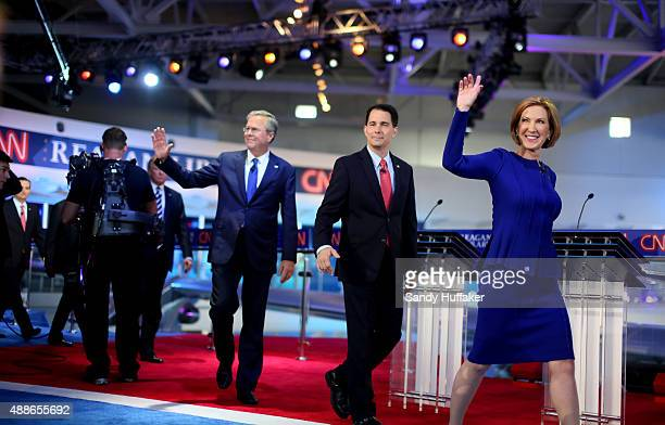 Republican presidential candidates Carly Fiorina Wisconsin Gov Scott Walker and Jeb Bush during the Republican presidential debates at the Reagan...