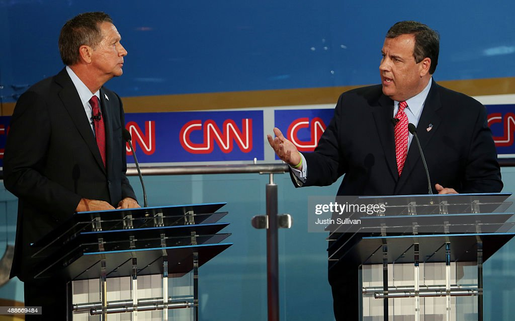 Republican presidential candidates Chris Christie and Ohio Gov John Kasich take part in the presidential debates at the Reagan Library on September...