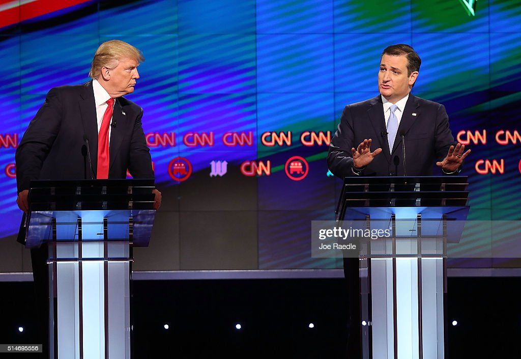 Republican presidential candidates, Donald Trump and Sen. Ted Cruz (R-TX), are seen during the CNN, Salem Media Group, The Washington Times Republican Presidential Primary Debate on the campus of the University of Miami on March 10, 2016 in Coral Gables, Florida. The candidates continue to campaign before the March 15th Florida primary.