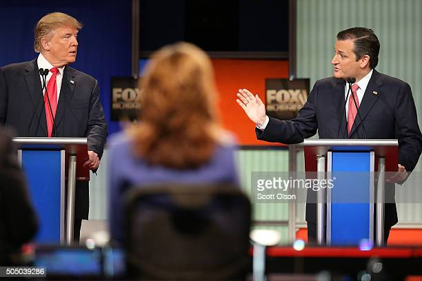 Republican presidential candidates Donald Trump and Sen Ted Cruz participate in the Fox Business Network Republican presidential debate at the North...