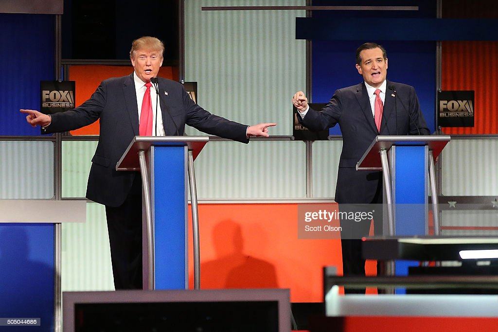Republican presidential candidates (L-R) <a gi-track='captionPersonalityLinkClicked' href=/galleries/search?phrase=Donald+Trump+-+Born+1946&family=editorial&specificpeople=118600 ng-click='$event.stopPropagation()'>Donald Trump</a> and Sen. <a gi-track='captionPersonalityLinkClicked' href=/galleries/search?phrase=Ted+Cruz&family=editorial&specificpeople=7222093 ng-click='$event.stopPropagation()'>Ted Cruz</a> (R-TX) participate in the Fox Business Network Republican presidential debate at the North Charleston Coliseum and Performing Arts Center on January 14, 2016 in North Charleston, South Carolina. The sixth Republican debate is held in two parts, one main debate for the top seven candidates, and another for three other candidates lower in the current polls.