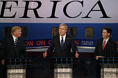 Republican presidential candidates Donald Trump Jeb Bush and Wisconsin Gov Scott Walker take part in the presidential debates at the Reagan Library...