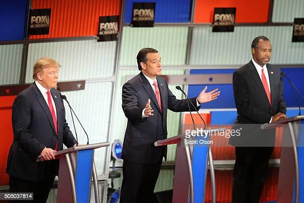 Republican presidential candidates Donald Trump Sen Ted Cruz and Ben Carson participate in the Fox Business Network Republican presidential debate at...