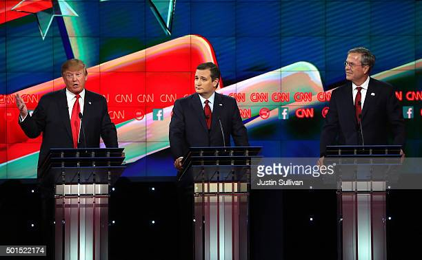 Republican presidential candidates Donald Trump Sen Ted Cruz and Jeb Bush participate during the CNN presidential debate at The Venetian Las Vegas on...