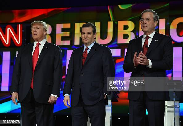 Republican presidential candidates Donald Trump Sen Ted Cruz and Jeb Bush stand onstage during the CNN presidential debate at The Venetian Las Vegas...