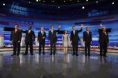 Republican presidential candidates former US Senator Rick Santorum businessman Herman Cain Rep Ron Paul former Massachusetts Governor Mitt Romney Rep...