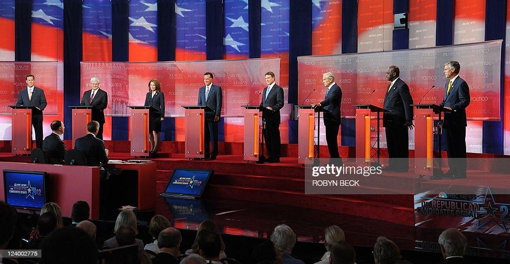Republican presidential candidates former US Senator Rick Santorum former Speaker of the US House of Representatives Newt Gingrich US Representative...