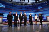 Republican presidential candidates former US Senator Rick Santorum Texas Gov Rick Perry former Massachusetts Gov Mitt Romney former Speaker of the...