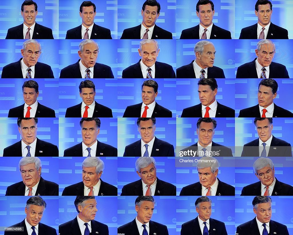 Republican presidential candidates (L-R) former Utah Gov. Jon Huntsman Jr., U.S. Rep. Ron Paul (R-TX), former Massachusetts Gov. Mitt Romney, former U.S. Sen. Rick Santorum, former Speaker of the House Newt Gingrich and Texas Gov. Rick Perry participate in the ABC News, Yahoo! News, and WMUR Republican Presidential Debate at Saint Anselm College January 7, 2012 in Manchester, New Hampshire. The GOP contenders are in the final stretch of campaigning for the New Hampshire primary, the first in the nation, to be held on January 10.