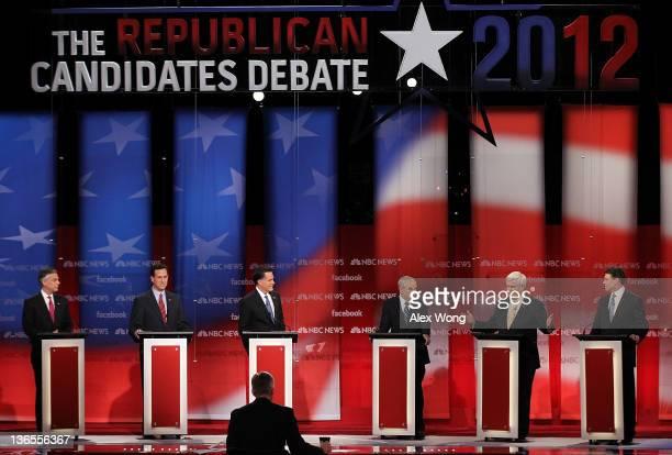 Republican presidential candidates former Utah Gov Jon Huntsman former US Sen Rick Santorum former Massachusetts Gov Mitt Romney US Rep Ron Paul...