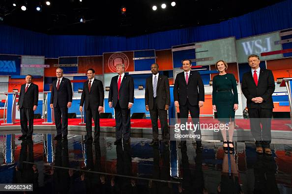 Republican presidential candidates from left John Kasich governor of Ohio Jeb Bush former Governor of Florida Senator Marco Rubio a Republican from...