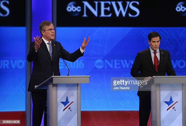 Republican presidential candidates Jeb Bush and Sen Marco Rubio participate in the Republican presidential debate at St Anselm College February 6...