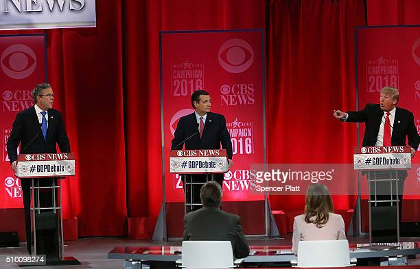 Republican presidential candidates Jeb Bush Sen Ted Cruz and Donald Trump participate in a CBS News GOP Debate February 13 2016 at the Peace Center...