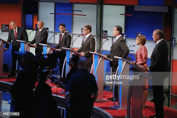 Republican presidential candidates Jim Gilmore Sen Lindsey Graham Louisiana Gov Bobby Jindal Rick Perry Rick Santorum Carly Fiorina and George Pataki...