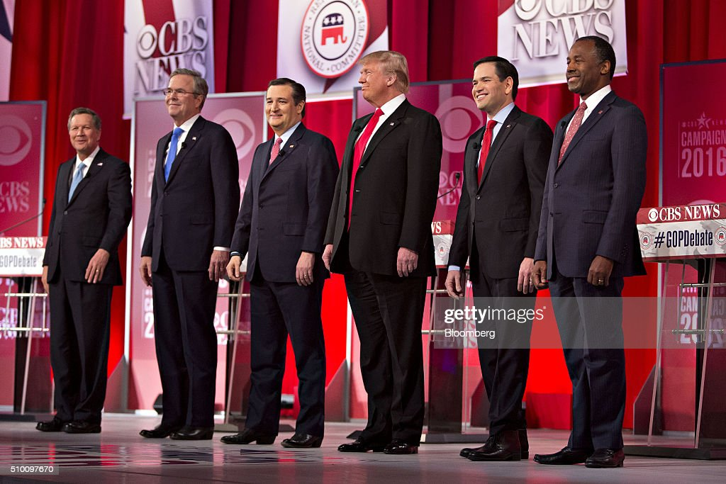 Republican Presidential candidates John Kasich governor of Ohio from left Jeb Bush former governor of Florida Senator Ted Cruz a Republican from...