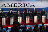 Republican presidential candidates Marco Rubio US Sen Ted Cruz Ben Carson Donald Trump Jeb Bush and Wisconsin Gov Scott Walker take part in the...