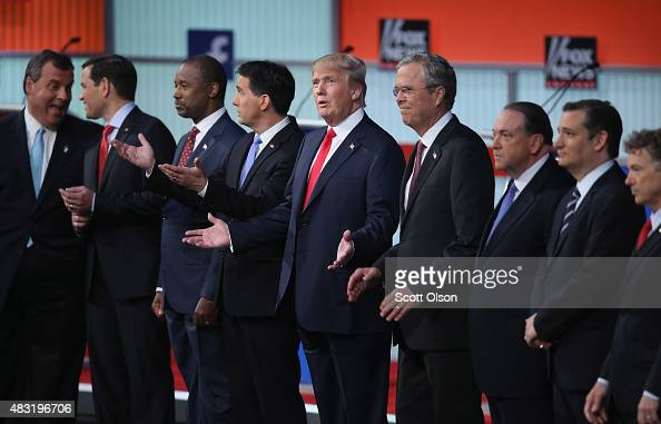 Republican presidential candidates New Jersey Gov Chris Christie Sen Marco Rubio Ben Carson Wisconsin Gov Scott Walker Donald Trump Jeb Bush Mike...