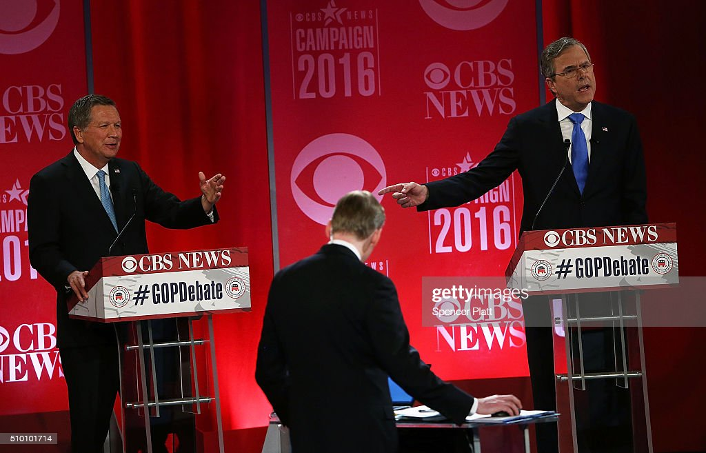 Republican presidential candidates (L-R) Ohio Governor <a gi-track='captionPersonalityLinkClicked' href=/galleries/search?phrase=John+Kasich&family=editorial&specificpeople=1315571 ng-click='$event.stopPropagation()'>John Kasich</a> and <a gi-track='captionPersonalityLinkClicked' href=/galleries/search?phrase=Jeb+Bush&family=editorial&specificpeople=171487 ng-click='$event.stopPropagation()'>Jeb Bush</a> participate in a CBS News GOP Debate February 13, 2016 at the Peace Center in Greenville, South Carolina. Residents of South Carolina will vote for the Republican candidate at the primary on February 20.