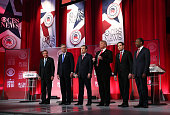 Republican presidential candidates Ohio Governor John Kasich Jeb Bush Sen Ted Cruz Donald Trump Sen Marco Rubio and Ben Carson stand on stage during...
