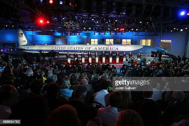 Republican presidential candidates participate in the presidential debates at the Reagan Library on September 16 2015 in Simi Valley California...