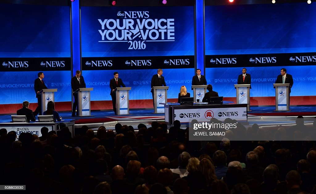 Republican presidential candidates participate in the Republican Presidential Candidates Debate on February 6, 2016 at St. Anselm's College Institute of Politics in Manchester, New Hampshire. From left are: John Kasich, Jeb Bush Marco Rubio, Donald Trump, Ted Cruz, Ben Carson, and Chris Christie. Seven Republicans campaigning to be US president are in a fight for survival in their last debate Saturday before the New Hampshire primary, battling to win over a significant number of undecided voters. / AFP / JEWEL SAMAD