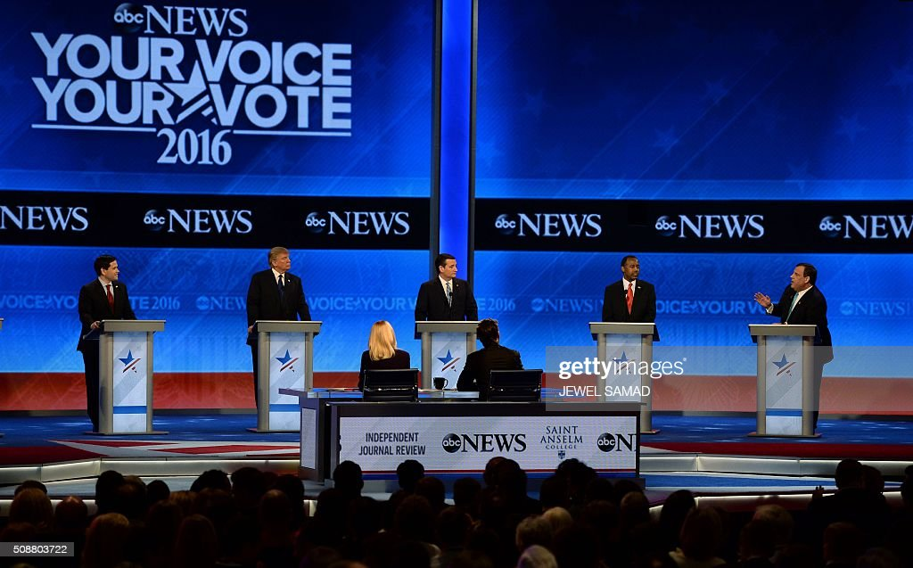 Republican presidential candidates participate in the Republican Presidential Candidates Debate on February 6, 2016 at St. Anselm's College Institute of Politics in Manchester, New Hampshire. From left are: Marco Rubio, Donald Trump, Ted Cruz, Ben Carson, and Chris Christie. Seven Republicans campaigning to be US president are in a fight for survival in their last debate Saturday before the New Hampshire primary, battling to win over a significant number of undecided voters. / AFP / JEWEL SAMAD