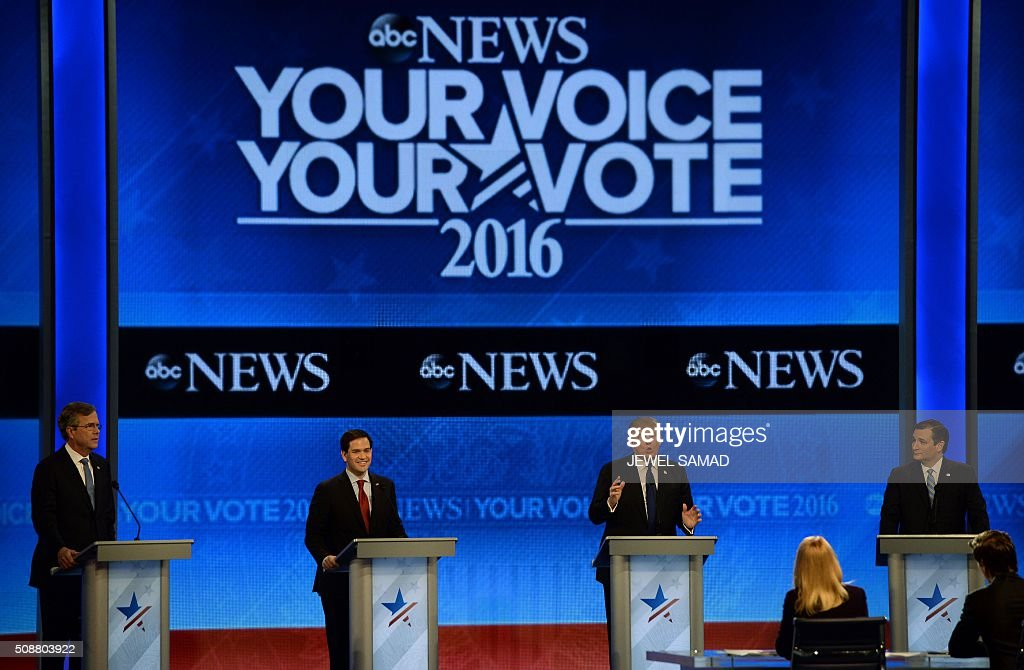 Republican presidential candidates participate in the Republican Presidential Candidates Debate on February 6, 2016 at St. Anselm's College Institute of Politics in Manchester, New Hampshire. From left are: Jeb Bush, Marco Rubio, Donald Trump, and Ted Cruz. Seven Republicans campaigning to be US president are in a fight for survival in their last debate Saturday before the New Hampshire primary, battling to win over a significant number of undecided voters. / AFP / JEWEL SAMAD