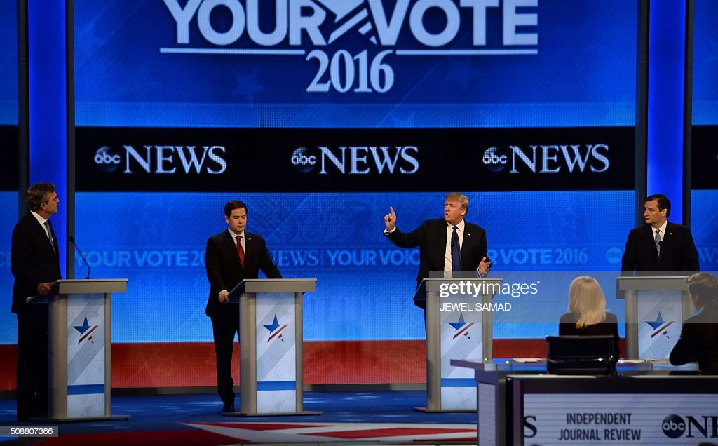 Republican presidential candidates participate in the Republican Presidential Candidates Debate February 6, 2016 at St. Anselm's College Institute of Politics in Manchester, New Hampshire. From left are: Jeb Bush, Marco Rubio, Donald Trump, and Ted Cruz. Seven Republicans campaigning to be US president are in a fight for survival in their last debate Saturday before the New Hampshire primary, battling to win over a significant number of undecided voters. / AFP / JEWEL SAMAD