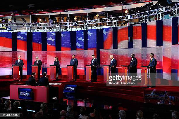Republican presidential candidates Rick Santorum Newt Gingrich Michele Bachmann Mitt Romney Rick Perry Ron Paul Herman Cain and Jon Huntsman Jr...