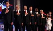 Republican presidential candidates Rick Santorum Rep Ron Paul Texas Gov Rick Perry Mitt Romney Herman Cain Newt Gingrich Rep Michele Bachmann and Jon...