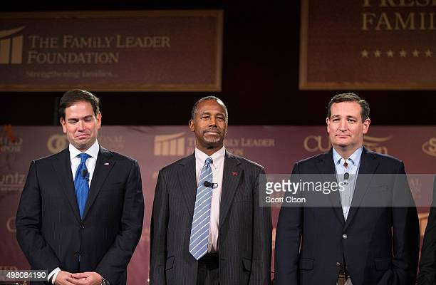 Republican presidential candidates Sen Marco Rubio Ben Carson and Sen Ted Cruz are introduced at the Presidential Family Forum on November 20 2015 in...