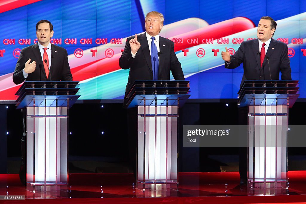 Republican presidential candidates, Sen. Marco Rubio (R-FL), Donald Trump and Sen. Ted Cruz (R-TX) listen as answers a question during the Republican presidential debate at the Moores School of Music at the University of Houston on February 25, 2016 in Houston, Texas. The debate is the last before the March 1 Super Tuesday primaries.