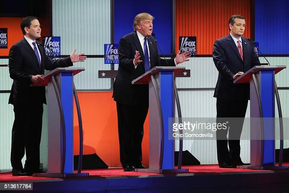 Republican presidential candidates Sen Marco Rubio Donald Trump and Sen Ted Cruz participate in a debate sponsored by Fox News at the Fox Theatre on...