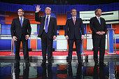 Republican presidential candidates Sen Marco Rubio Donald Trump Sen Ted Cruz and Ohio Gov John Kasich participate in a debate sponsored by Fox News...