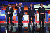 Republican presidential candidates Sen Marco Rubio Donald Trump Sen Ted Cruz and Ohio Gov John Kasich participates in a debate sponsored by Fox News...